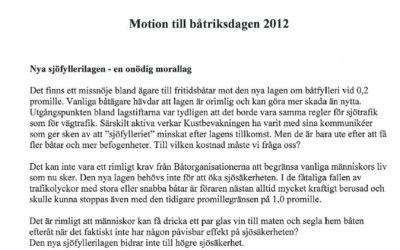 Sörmlandskustens motion till båtriksdagen 2012