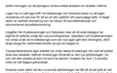SWEBOATS skrivelse till regeringen.